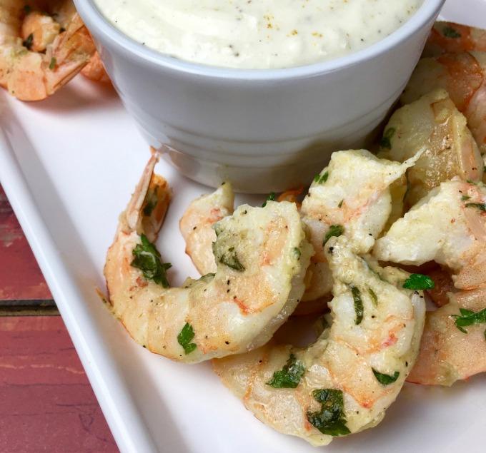 Warm Garlic Parmesan Shrimp with Roasted Garlic Dip