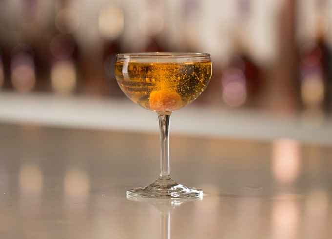 classic French 75 champagne cocktail with cognac