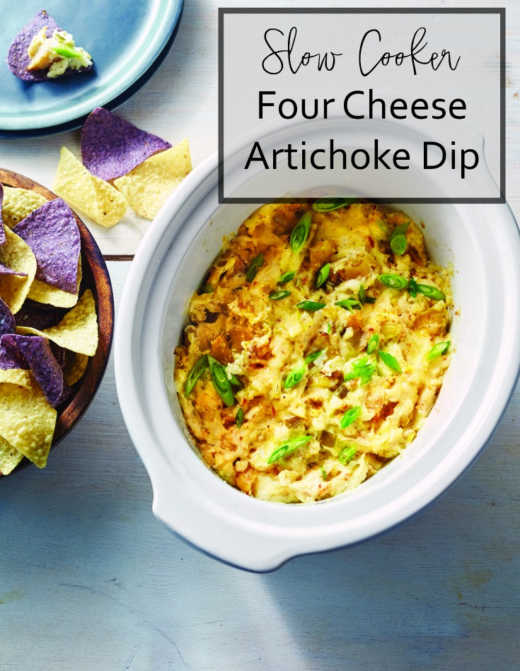 Four Cheese Artichoke Dip recipe that's made in a crockpot. Just toss all the ingredients into a slow cooker and set it and forget it. Can also be made into pasta sauce.