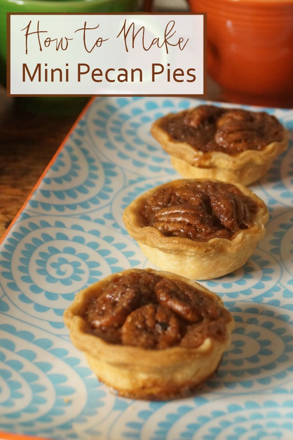 An easy and delicious recipe to make two bite pecan pies. These mini pecan tartlets will be the hit of your dessert bar. Quick and easy, too!