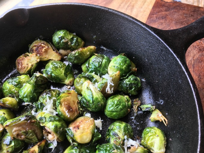 Pan Roasted Brussels Sprouts with a maple balsamic glaze