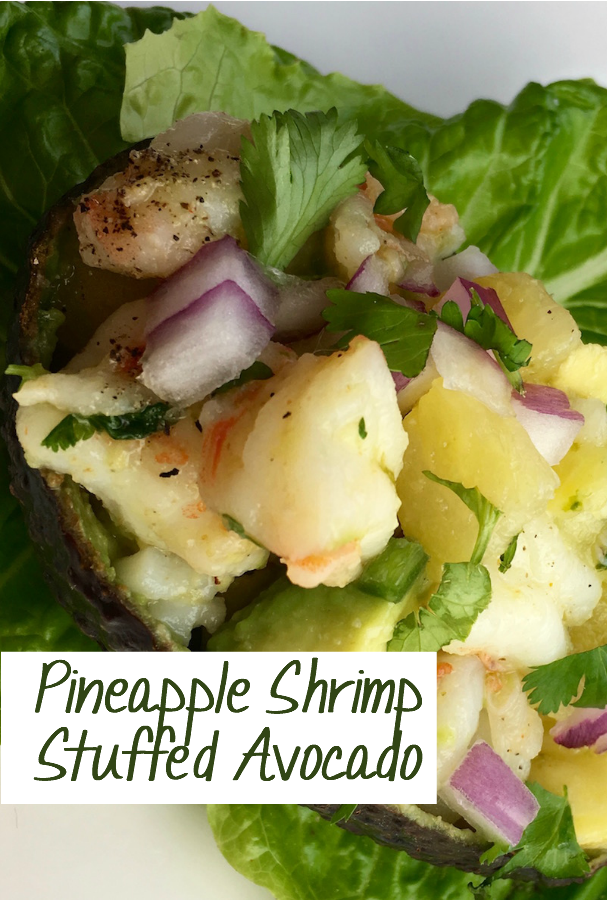 Make these delicious Pineapple and Shrimp stuffed Avocado Salad quickly and easily. It makes a great lunch or dinner, and is so easy and yummy. Whole30 and Paleo approved, too.