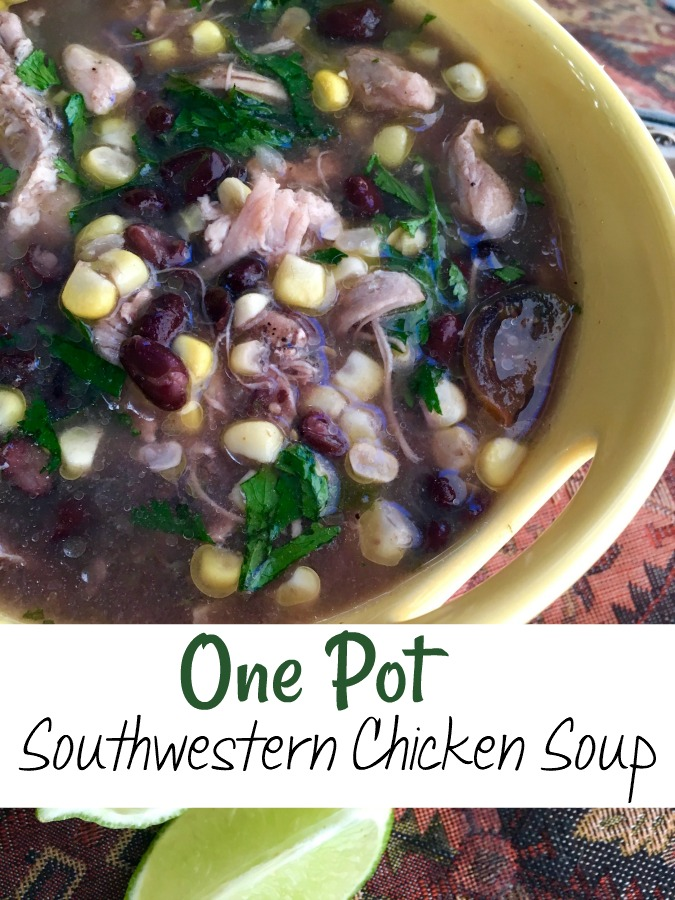 Make this quick and easy Southwestern Chicken Soup. It takes about an hour, and only uses one pan. Plus you probably have the ingredients in your pantry already. #chicken #souprecipe #dinnerideas