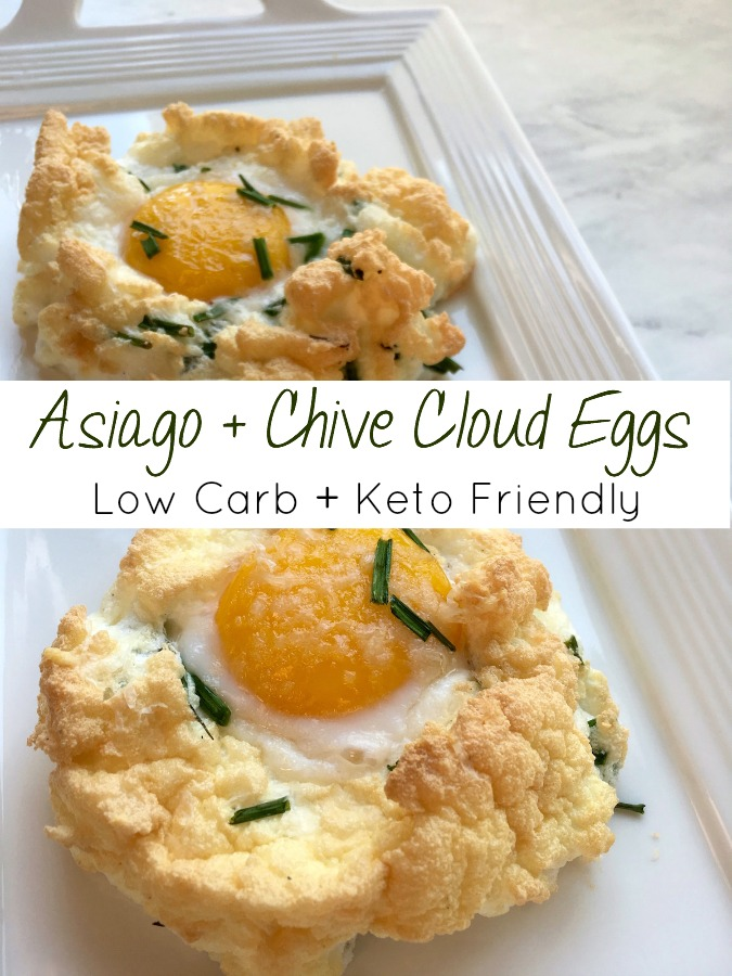 Cloud eggs with Asiago and Chives are so elegant for breakfast or brunch. They're super easy to make, so quick, and the recipe is low carb and keto friendly, too.