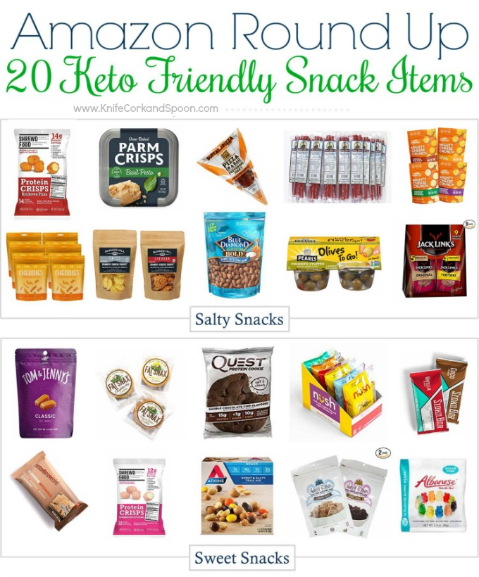 Keto friendly snacks that are available from Amazon. 10 Sweet, 10 Salty, all delicious. Most are available with Prime shipping too